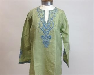 Barbara Gerwit Silk Celadon Green Tunic with Embroidered & Sequin Detail (NWT)