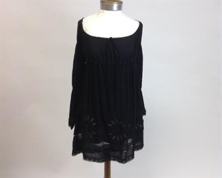 Alessandra N of St.Barth Black Boho Dress with Lace Detail