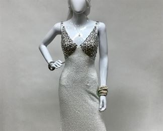 Sherri Hill Ivory/Silver Beaded Evening (NWT) Adele Kaye of Beverly Hills Rhinestone/Mother of Pearl Watch,