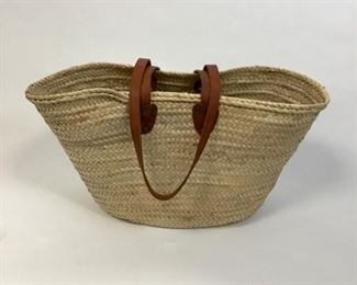 Palm Straw and Leather Tote