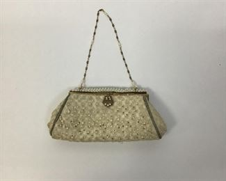 Revivals Ivory Beaded with Pearl Seeds Evening Clutch