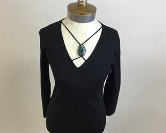 Spencer Jermey Black Knit Top with Stone Detail