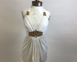 White Tank with Gold and Rhinestone Snake Detail By Sky