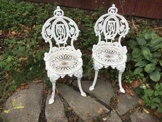 Antique cast iron white bistro chairs, were $400, SALE $200