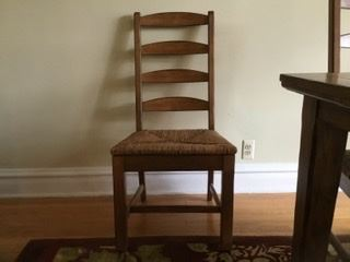 Kitchen chairs with ladder back & rush seats, 3 available, were $35, SALE $15 each