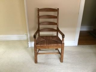 Captain chairs with ladder back & rush seats, 2 available, were $40, SALE $18 each