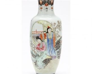 Chinese Republic Period Porcelain Vase c.1912 thinly potted with artist's inscription/signature. Note: Qianlong mark, painted in fencai enamels with narrative scene featuring two women.