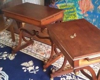 Pair of Regency Style End Table with candle slides.