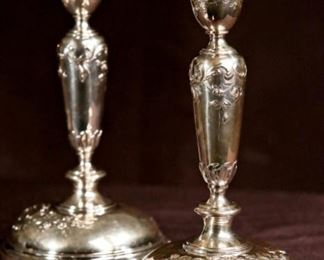 Pair of Sterling Silver Candle Sticks c.1850.  Austro-Hungarian by Joseph Carl von Klinkosch.