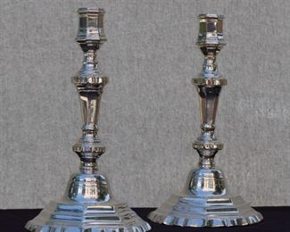 Silvered Bronze Candle Sticks, Period Louis XV. 18th Century Paris