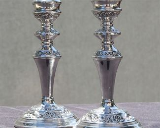 Sterling Silver Candle Sticks by W.I. Broadway, Birmingham c. 1851  British Hallmark Sterling.