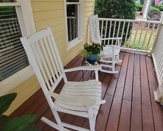 White rocking chairs
