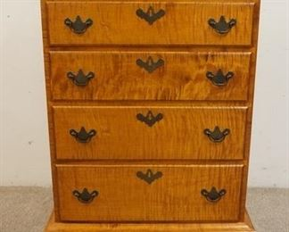 1002OUTSTANDING TIGER MAPLE CARTER HALL BENCH MADE QUEEN ANNE CHEST DRY FRAME, DOVETAILED W/FAN CARVING ON CENTER TOP DRAWER, 47 IN HIGH X 27 IN WIDE
