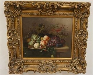 1003CONTEMPORARY FRUIT STILL LIFE IN GILT FRAME, OVERALL DIMENSIONS 37 1/2 IN X 33 1/2 IN