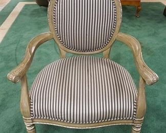 1004CARVED MEDALLION BACK ARM CHAIR W/GILT SILVER FINISH