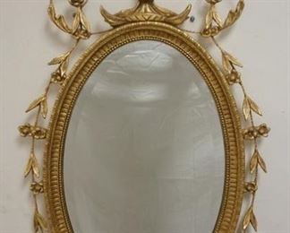 1007OVAL GILT BEVELLED EDGE MIRROR, 46 IN HIGH X 22 1/2 IN