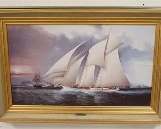 1008CONTEMPORARY FRAMED SCHOONER MARKED *YACHT MAGIC DEFENDING AMERICAS CUP*, 26 1/2 IN X 40 1/2 IN