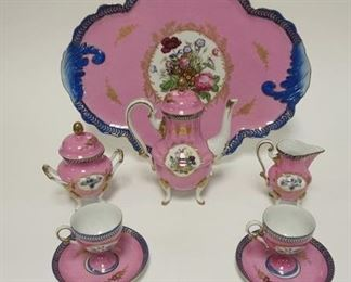 1012 IMPERIAL PEINTE A LA CHINA HAND PAINTED DEMITASSE SET. INCLUDING SERVING TRAY, TEA POT, CREAMER, SUGAR AND 2 CUPS WITH SAUCERS