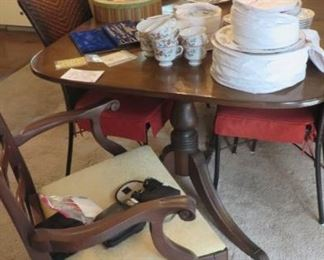 """Duncan Phyfe Dining Room Table with 3-12""""leaves & 2 Host Chairs, 4 Rush Seat Chairs,"""