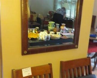 Mirror & 2 Wood Folding Chairs