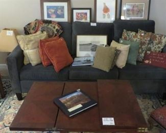3 Cushion Couch, Accent Pillows, Open-up Coffee Table, Prints