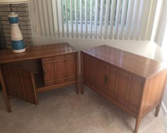 Drexel pair of mid century low cabinets. 30 wide x 17.5 deep and 26 high