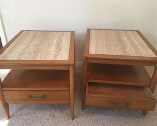 Drexel pair of wood side tables marble top, great condition.  22 wide x27 deep and 21 High