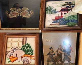 4 framed pieces of Needlepoint BUY IT NOW $48