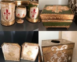 9 Pieces in this picture and the next all made in Italy, told to be part of the Horchow collection, a little love is needed to put these vintage pieces in your collection BUY  IT ALL, BUY IT NOW $60