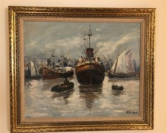 Painting by J. Hilario of ships BUY IT NOW $300