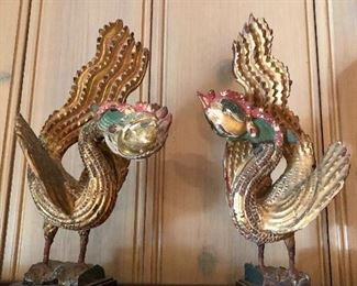"""Pair of Late 19th century Chinese Carved Wood Phoenix Bird Sculptures in Gilt Painted wood 11""""H BUY IT NOW"""