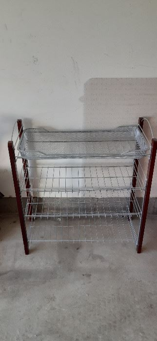 Wire storage shelving unit.