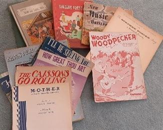 Lots of sheet music and books.  Vintage and newer.