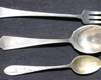 Lot# 65 - Lot of Sterling Silver Spoon & Fork (3pc)