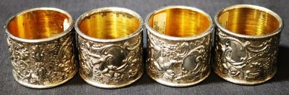 Lot# 93 - Set of 4 Silver Plated Napkin Ring Holders