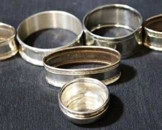 Lot# 125 - Assorted Sterling Silver Napkin Ring Holders and Salt Cellar