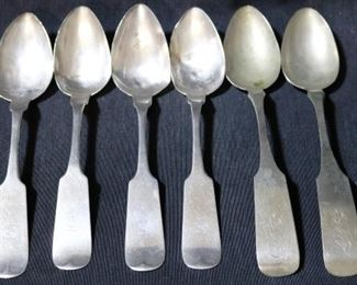 """Lot# 129 - Lot of 6 Assorted """"Possibly"""" Coin Silver Spoons"""