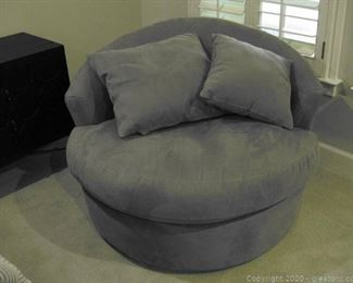 Johnson Johnson Suede Oversize Barrel Chair and 2 Pillows