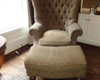Oversized Wingback Rolled Arm Tufted Chair with Ottoman