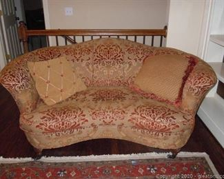Vintage Sherrill Camelback Loveseat With Accent Pillows