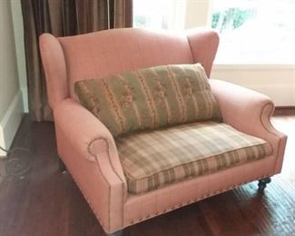 Wingback Loveseat with Nailhead Trim and Accent Pillow