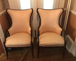 Pair of highly carved side chairs