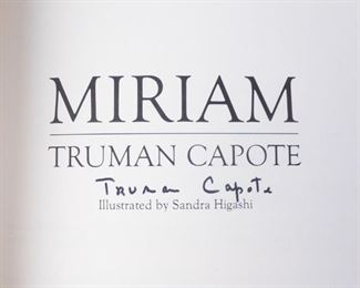 AUTOGRAPHED FIRST EDITION BOOK MIRIAM BY TRUMAN CAPOTE