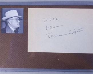 Truman Capote Autograph and Photo