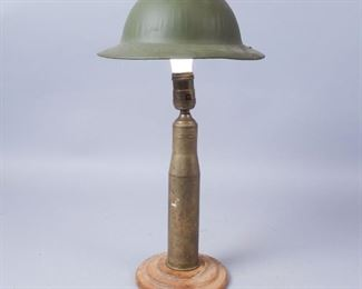 Homemade Shell Case Lamp with Doughboy Shade