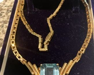 Aquamarine  Necklace  14 K Yellow gold necklace  with   weighing approx. 30. 65 ct. 17.2 x20.90 x 11.1.3 MM  appraisal  $17,750.00  July 2014