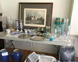 Antique fox hunt print, Ralph Lauren candleholders, Pottery Barn hurricanes, Spode mugs and dishes, crystal candlesticks and hurricanes, pewter and stainless platters, misc decor