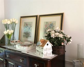 Pair custom framed Williamsburg Furber prints, Pottery Barn floral plate and centerpiece bowl, misc decor