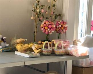 Easter decor, egg trees, baskets, rabbits, spring decor, vintage and antique Easter baskets