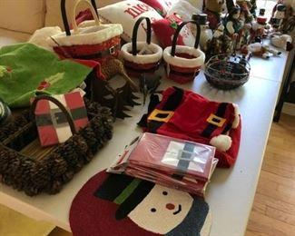 Christmas baskets, pillows, adult/child apron, stuffed fabric snowmen/santas, etc.  Nutcrackers including Philadelphia Eagles.